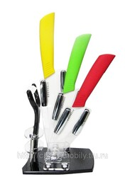 Ножи из  белой керамики (Желтый,  зеленый,  красный )